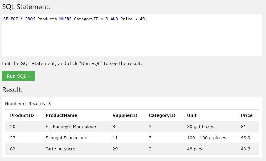 kurs SQL - operator AND