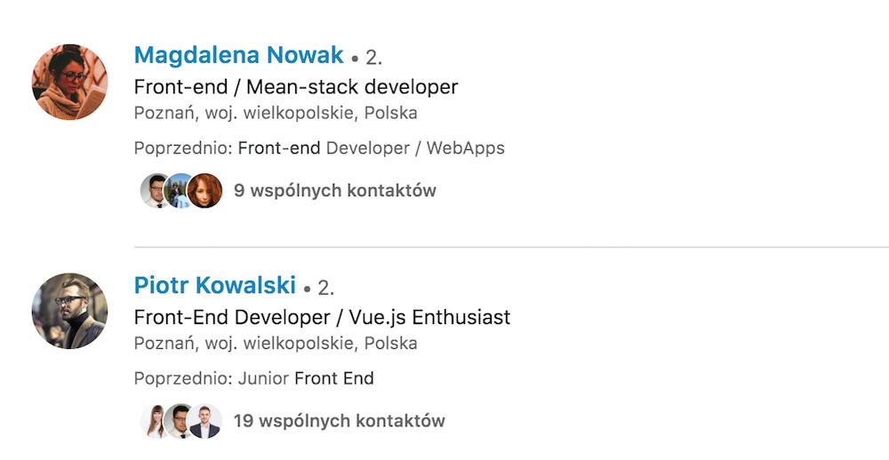 profil na LinkedIn programista