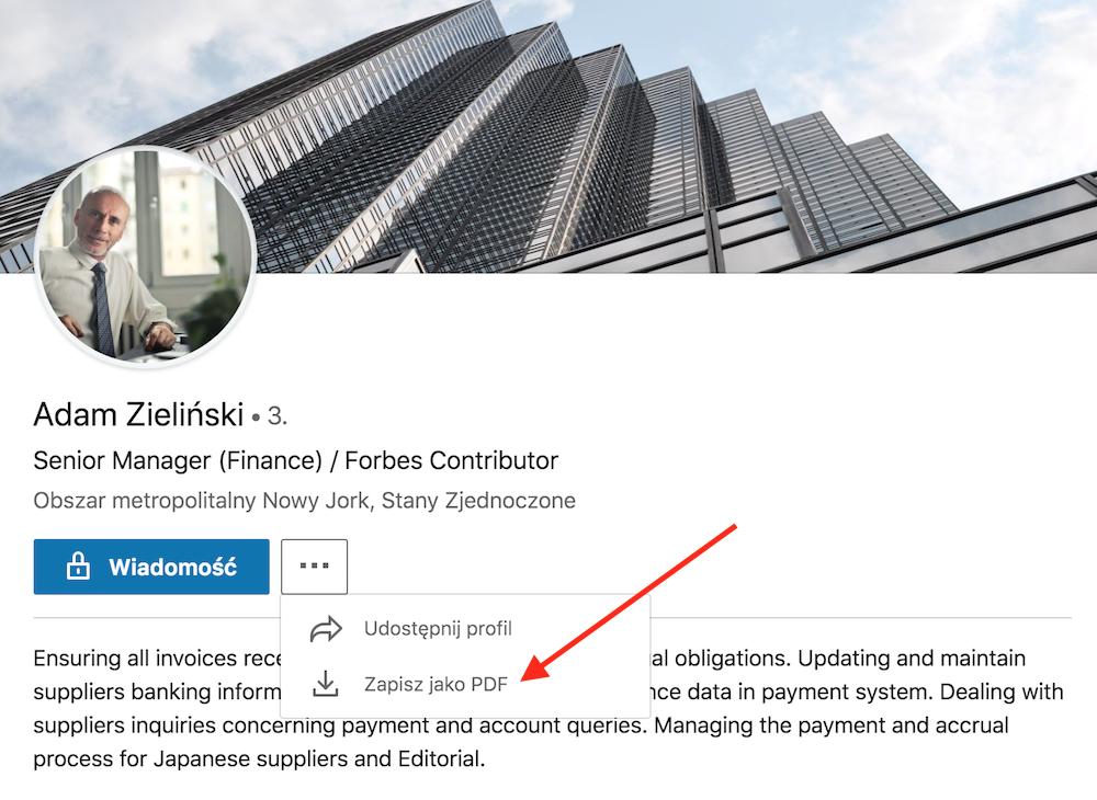 profil na LinkedIn generowanie pdf