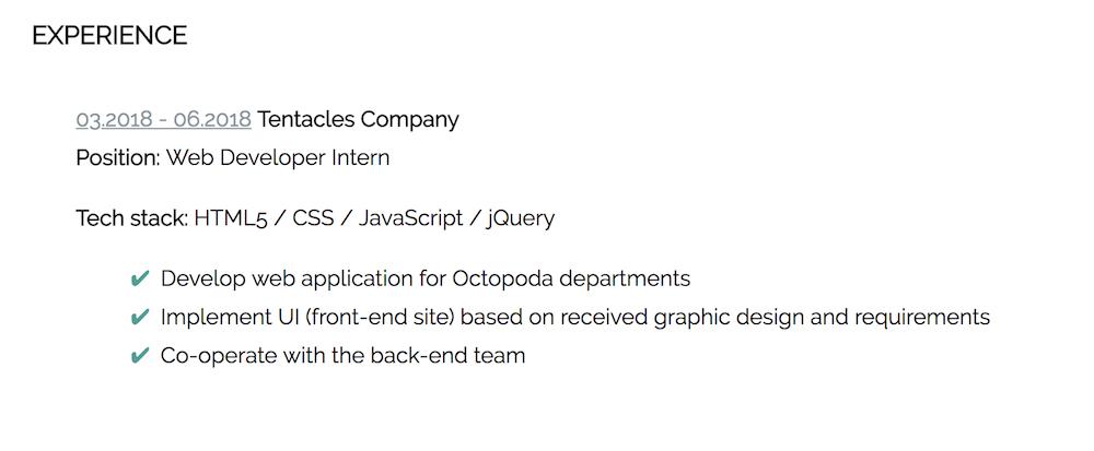 HTML CSS CV doświadczenie