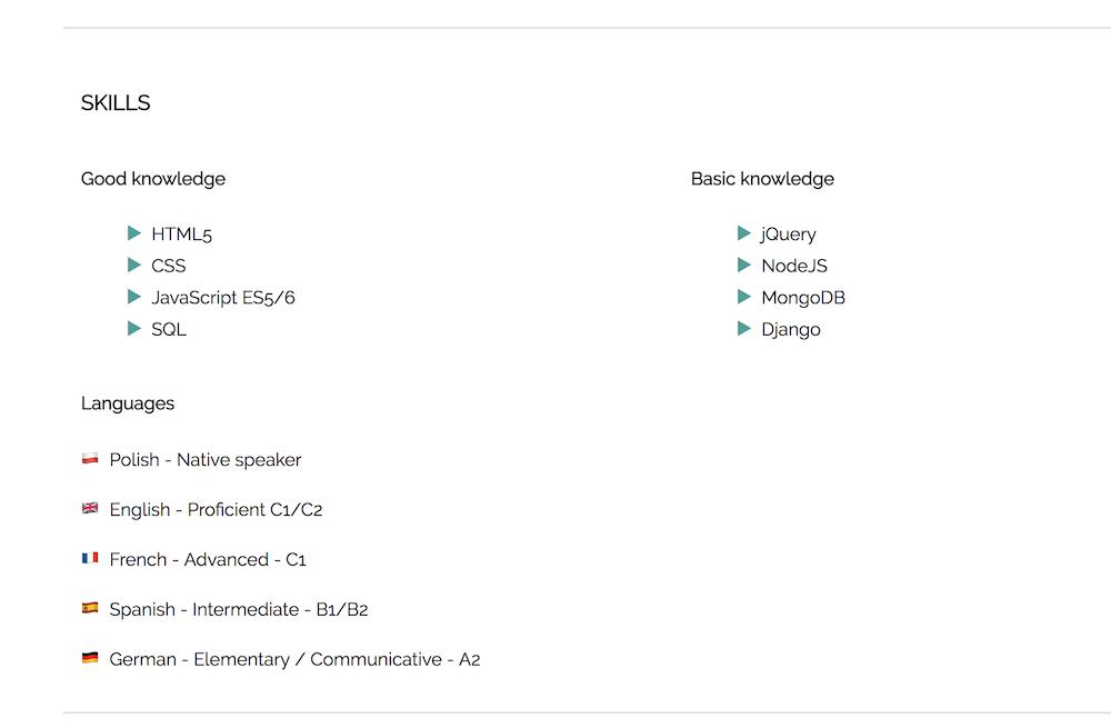 CV HTML CSS od podstaw umiejętności