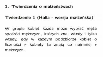 twierdzenie Halla wersja małżeńska definicja
