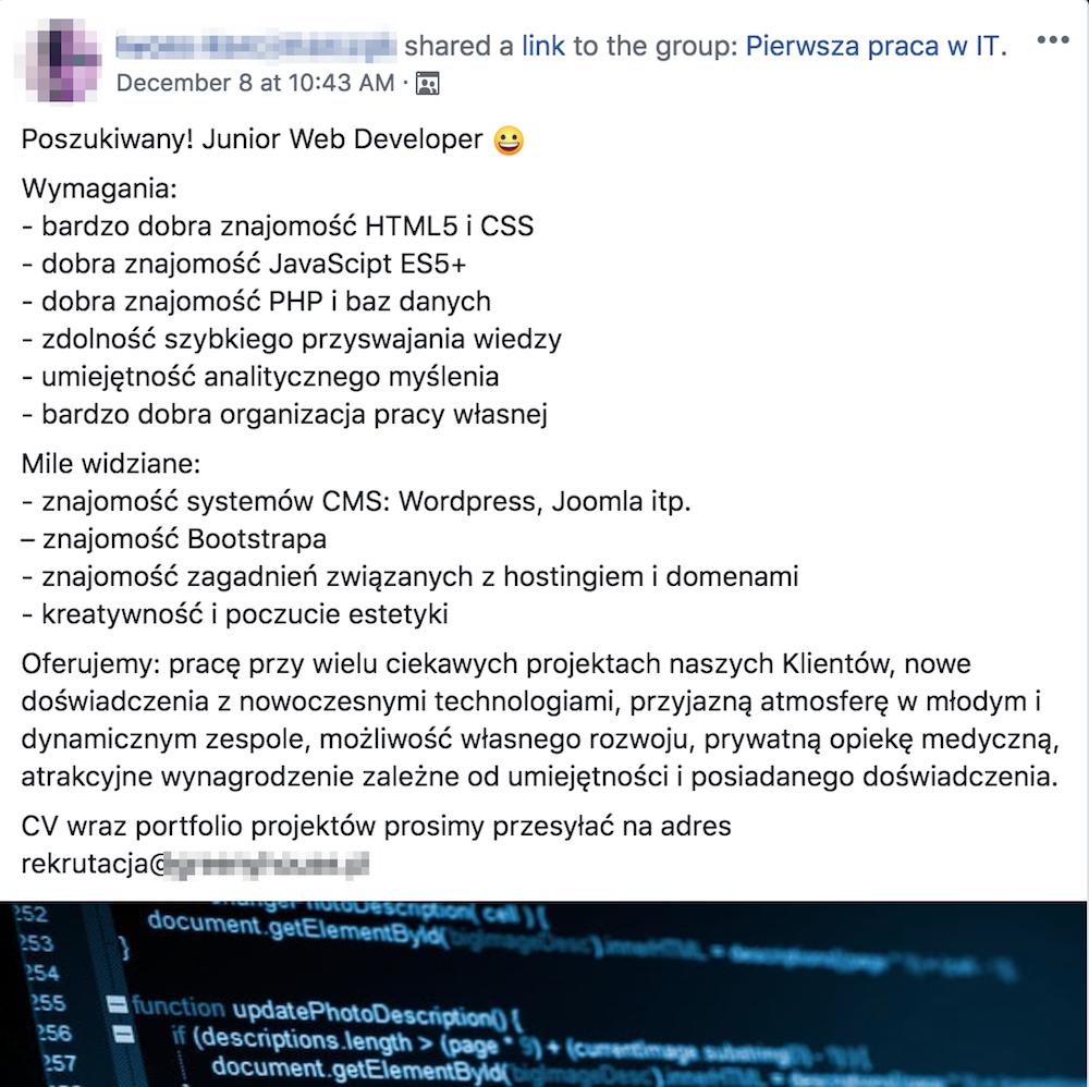oferta pracy dla junior web developera